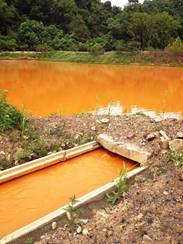 The polluted water is channelled through a series of ponds and wetlands, where iron is precipitated and can be removed in the form of iron oxide.